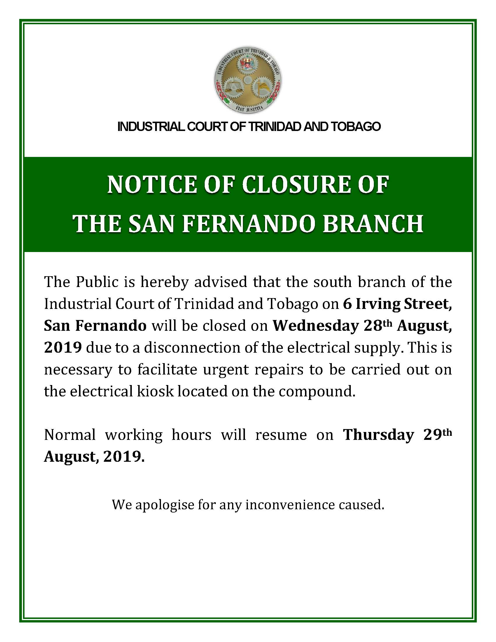 NOTICE OF CLOSURE OF OFFICES South Branch